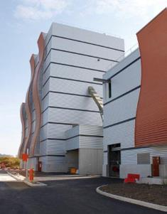 A view of the architecturally designed buildings of the SODC Orléans biomass CHP plant.