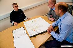 JG Pears CEO, Alistair Collins discussing plant plans with AET staff.
