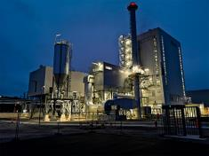 The cogeneration plant at night